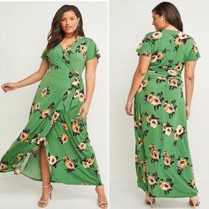 Lane Bryant Floral Green Wrap Maxi Dress Sz 26-28